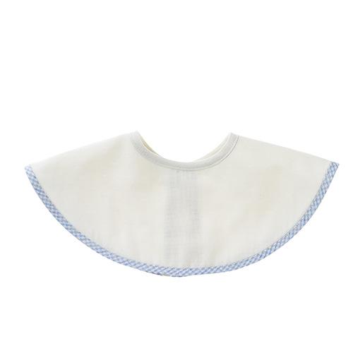 肌側シルク、外側コットンのふんわり2重ガーゼのスタイ ブルー